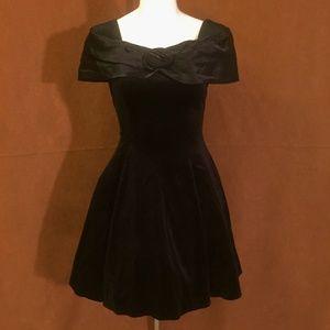 VINTAGE 70s Black Velvet Off Shoulder Mini Dress